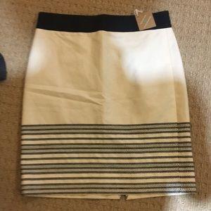 J . Crew skirt.  ivory and black. brand new